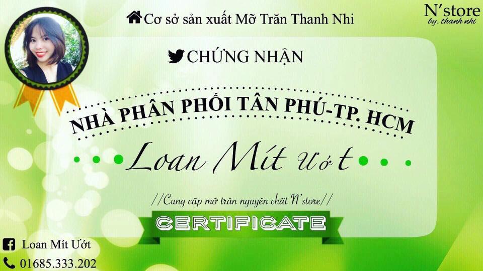 Giờ Loan là nhà phân phối độc quyền mỡ trăn N'store tại Tân Phú TP HCM