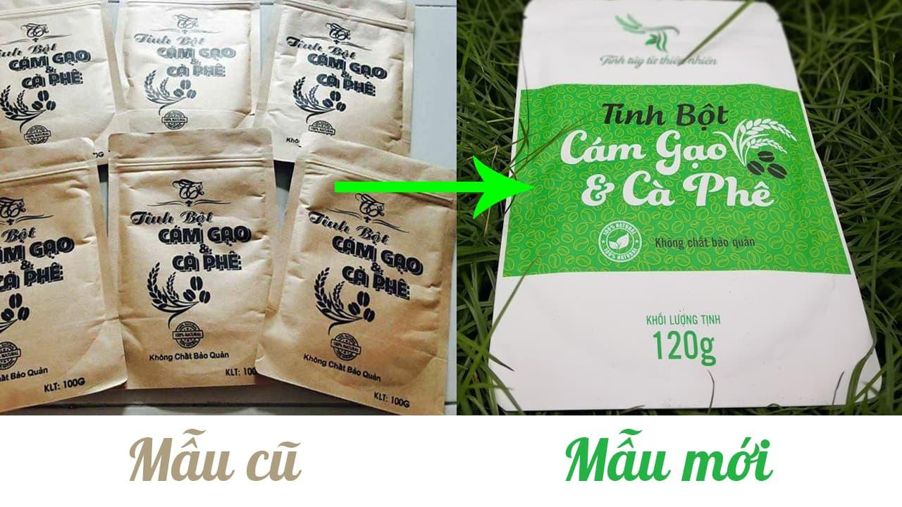 Tinh bột cám gạo cà phê mẫu cũ mới