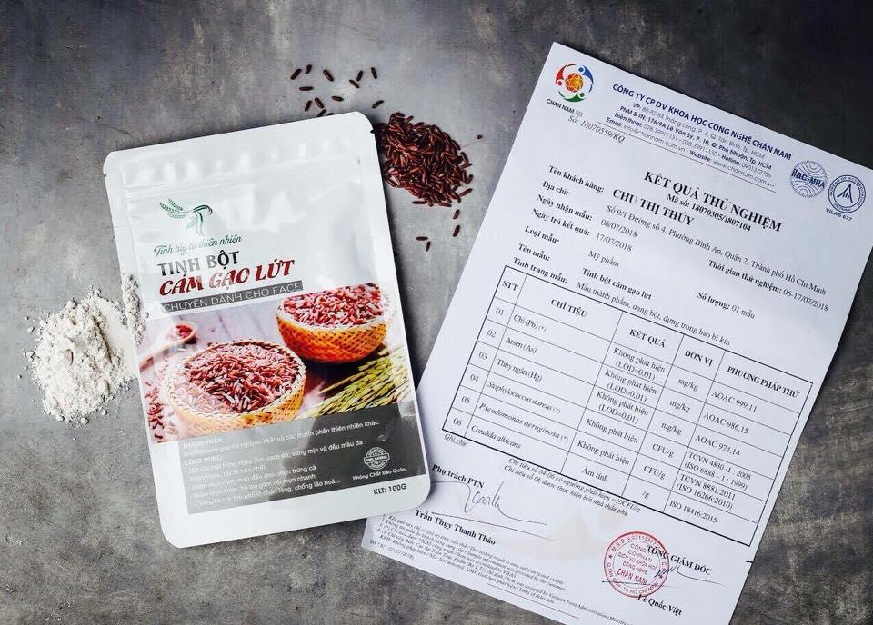 Kết quả thử nghiệm chất lượng đạt chuẩn của tinh bột cám gạo lứt TT