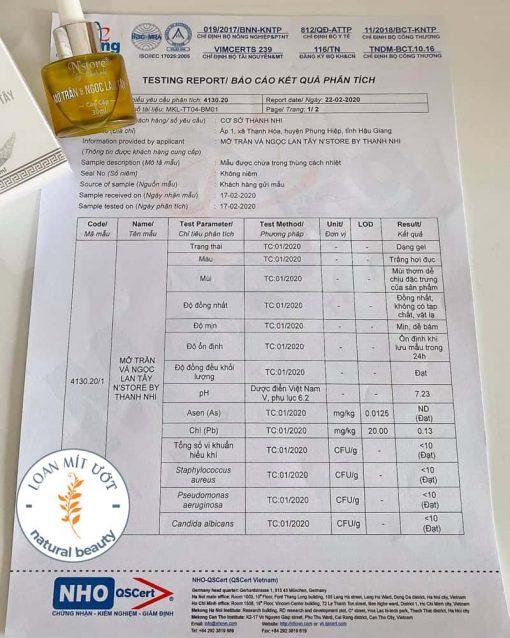 Kết quả phân tích mỡ trăn ngọc lan tây