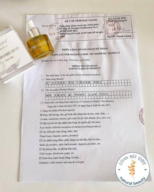 Phiếu công bố sản phẩm Mỡ trăn & Ngọc lan tây